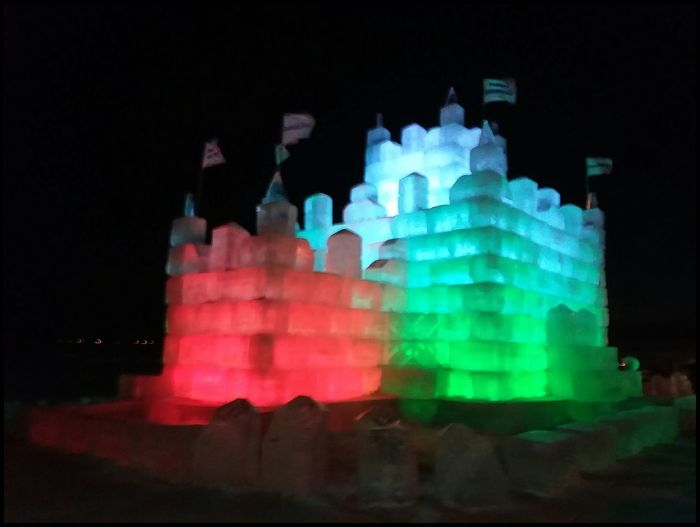 ❤Ice castle lighted up❤ Happy Valentine's day Friends🤗 Ice Frozen Nature Ice Blocks Castle Fun Night No People Multi Colored Outdoors Building Exterior Sky Urban Skyline