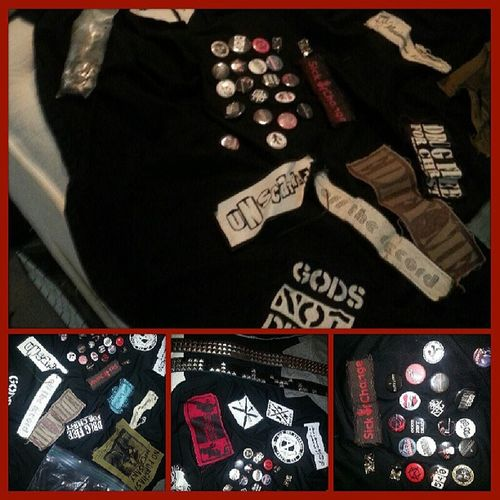 "Was cast as a ""Punk/Skinhead-ish"" 4 a mosh pit scene 2morrow. Time 2 break out the patches @thetwilightsown (TC's in the front) Unity CorporateSellOut PunkForWhat ?! Punk"