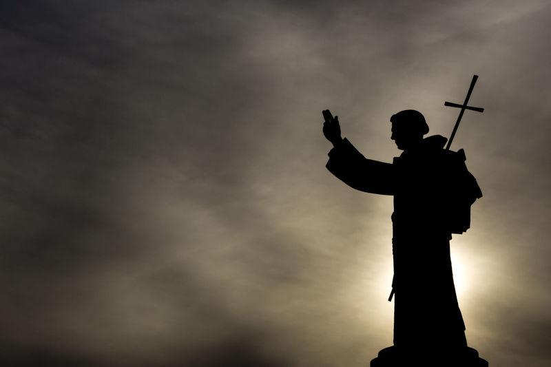 Art And Craft Christianity Cloud - Sky Cloudy Human Representation Low Angle View Monument Pedestal Religion Saint Saint Anthony Saint Antoine Sculpture Silhouette Sky Statue Sun The City Light