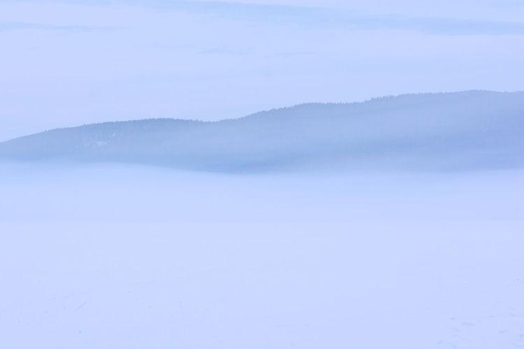 Close-up of frozen landscape against sky