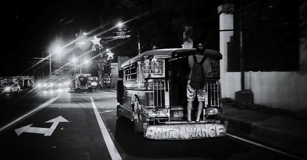 Life in the Philippines Transportation City Night Outdoors Black And White Photography Simple Truth Simplicity Manila Philippines Philippines Photography In Motion Man Standing Life Lifestyle