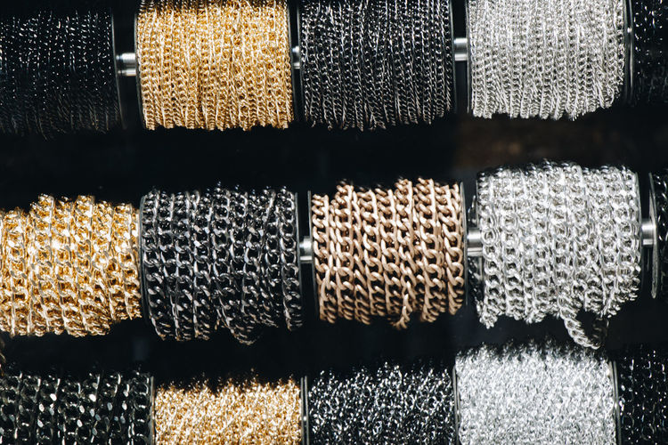 Close-up of chains for sale in store