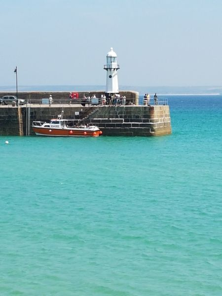 Sea Nautical Vessel Water Outdoors Day Lighthouse Horizon Over Water Sky Sunlight St Ives Harbour