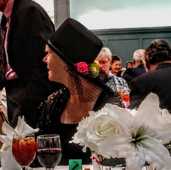gracefully elegant Flowersinthehat Elegantlady BlackHat Party - Social Event Happiness Celebration Drinking Glass Smiling