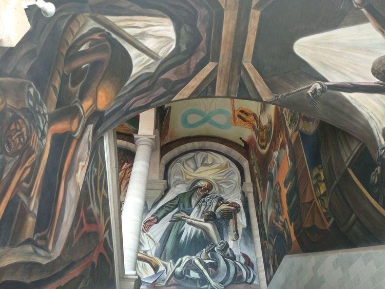 """""""Abolición de la esclavitud"""" Chávez Morado History Mexico Guanajuato Painted Image Mural"""