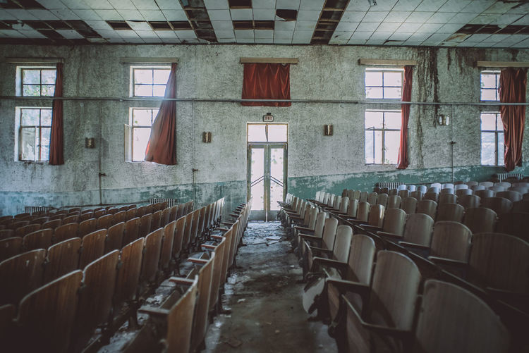 Interior Of Seats In Abandoned Theater