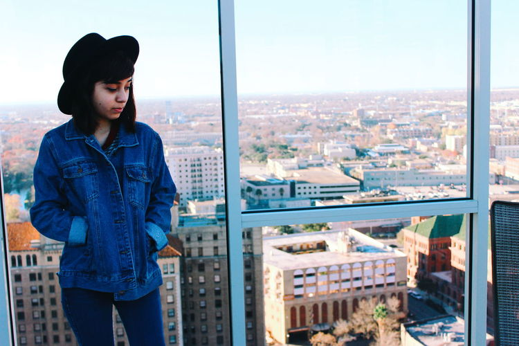 Hanging Out Taking Photos Vscocam Enjoying Life From My Point Of View Colour Portrait Cityscapes City Life City View  City Discover Your City Travel San Antonio Texas Fashion Photography Hotel View Denim Jacket Jean Jacket