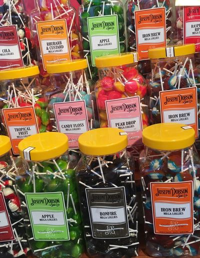 Food Collection Still Life Arrangement Full Frame Fun Fair Sweet Stall Candy Lollies Sweet Jars Lollipops Colourful