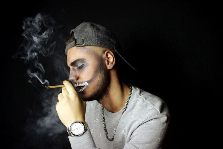 Black Background Portrait Studio Shot Real People Marijuana - Herbal Cannabis Smoke - Physical Structure Bad Habit Young Adult Stoned Highlife Weed Life Smoke Weed Roll It Up, Take A Hit  Green Green Green!  MaryJane Joint Blunt EyeEmNewHere EyeEmNewHere