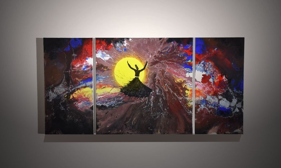 Painting on Canvas from an afghan refugee Whirling Dervishes EyeEm Gallery Dance EyeEm Best Shots Paint Paintings Acrylic Painting Acrylic Colourful Colours Colour Semazen Sufi Whirling EyeEmNewHere Press For Progress