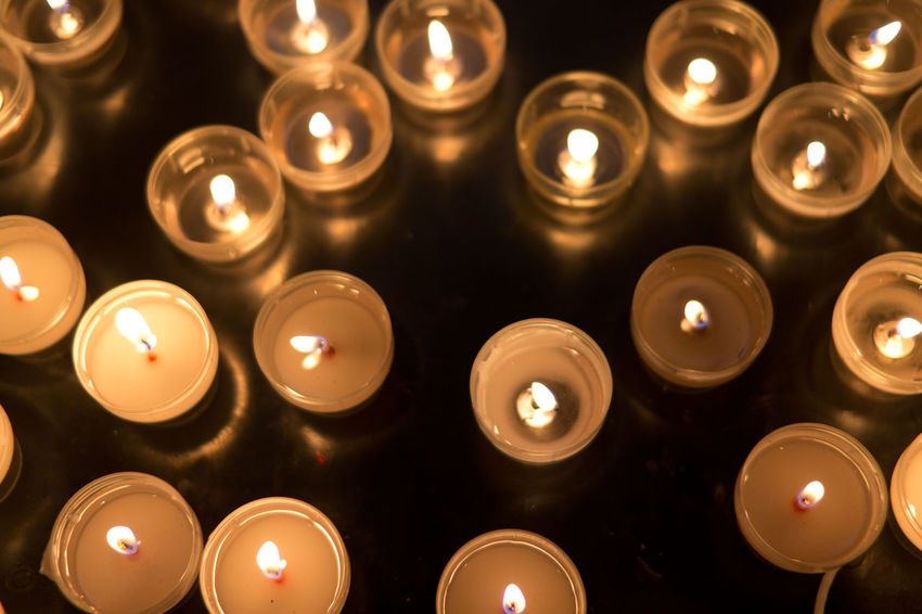 Candles Flame Church Faith In A Row Large Group Of Objects Indoors  Candle No People Arrangement Religion Close-up