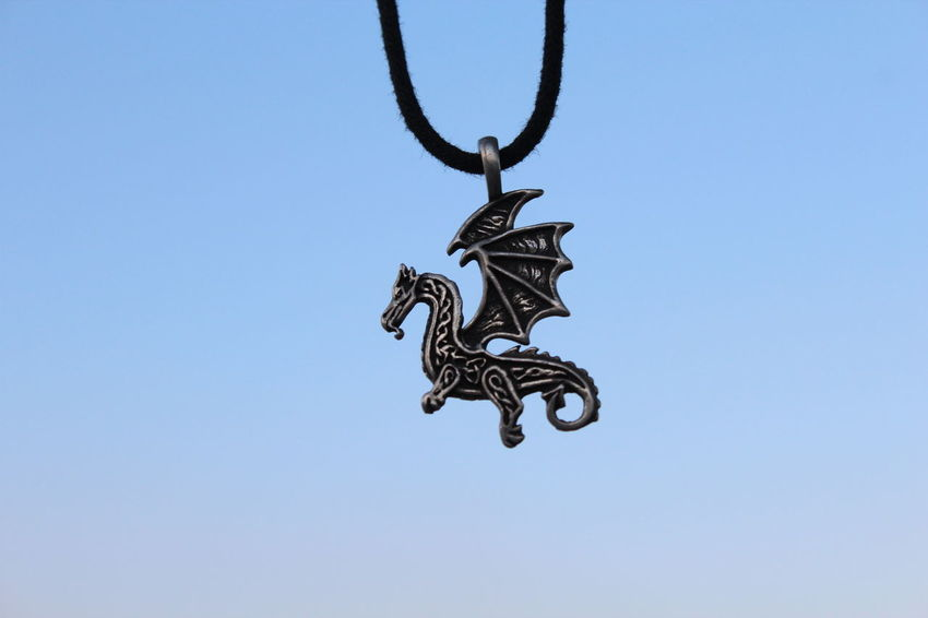 Animal Representation Blue Clear Sky Close-up Day Dragon Low Angle View Necklace No People Outdoors Sky