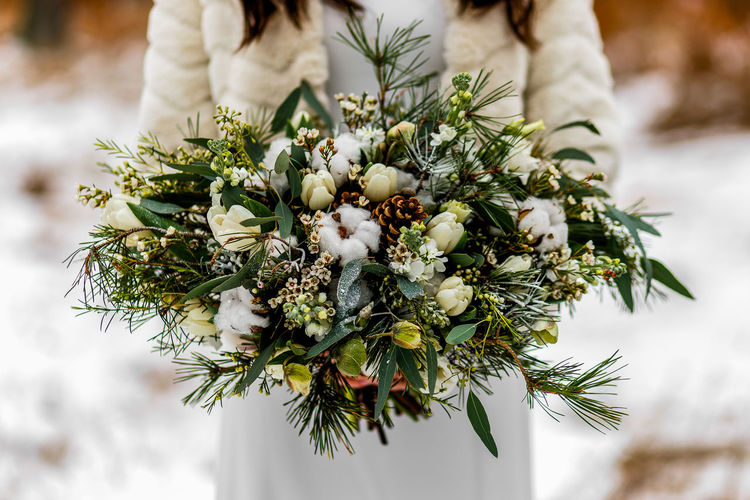 Close-up of woman holding christmas tree during winter