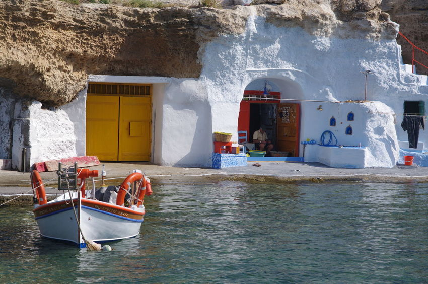 Griechenland Griechische Inseln Milos Island Architecture Beach Building Exterior Built Structure Day Fischerhaus Fisherman Fishing Boat Greece Mode Of Transport Nature Nautical Vessel No People Outdoors Sea Sky Transportation Water