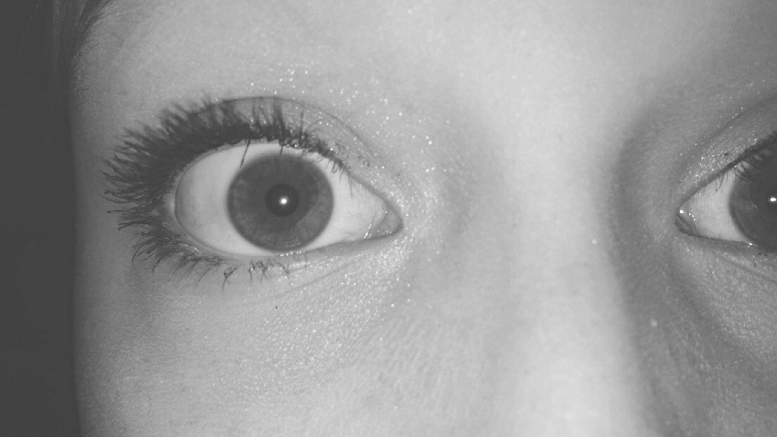 human eye, close-up, eyelash, indoors, looking at camera, human skin, part of, lifestyles, eyesight, portrait, human face, sensory perception, person, extreme close-up, headshot, young adult, eyeball
