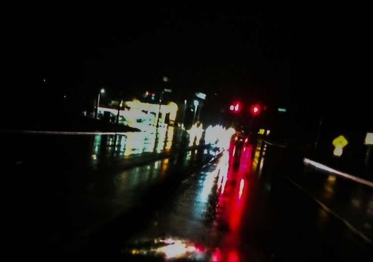 Rainy night 2 Black, Reflection, Red, Lights, Road, Travel