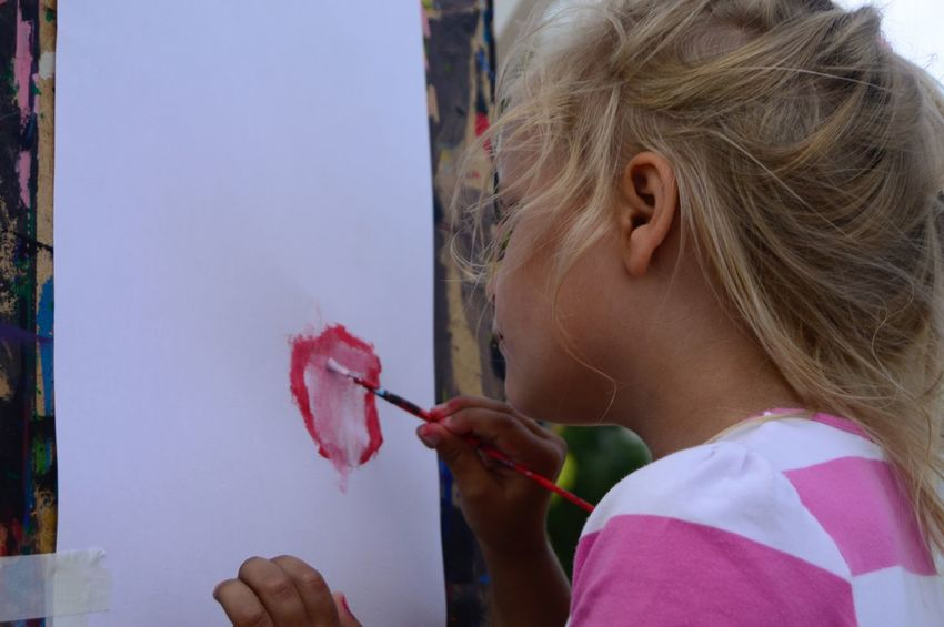 Childhood Summer City Park Girl Creativity Art Painting Painting Art One Person Hair Headshot Portrait Lifestyles Child Girls Holding Real People Childhood Leisure Activity Hairstyle Blond Hair Innocence Human Face Human Hair