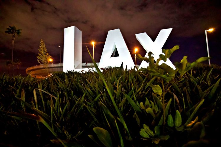 Illuminated Night Communication Lighting Equipment No People Western Script Sign Outdoors Message LAX Airport Entrance Airport Los Angeles