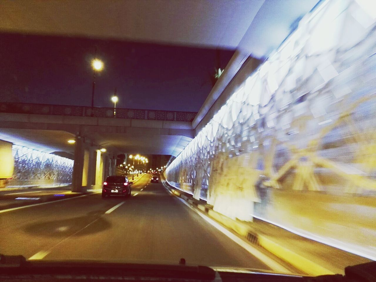 transportation, illuminated, car, the way forward, blurred motion, land vehicle, mode of transport, motion, road, no people, speed, night, indoors, architecture