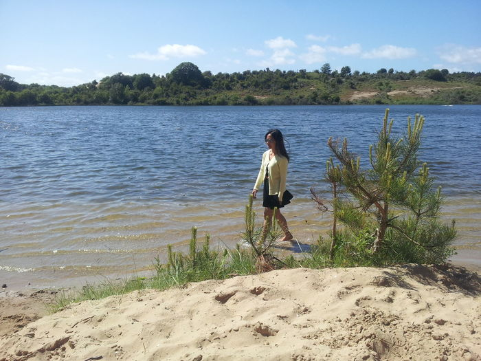 Beauty and the lake. Beach Beauty In Nature Day Lake Lifestyles Nature Nice Photography One Person Outdoors Real People Water