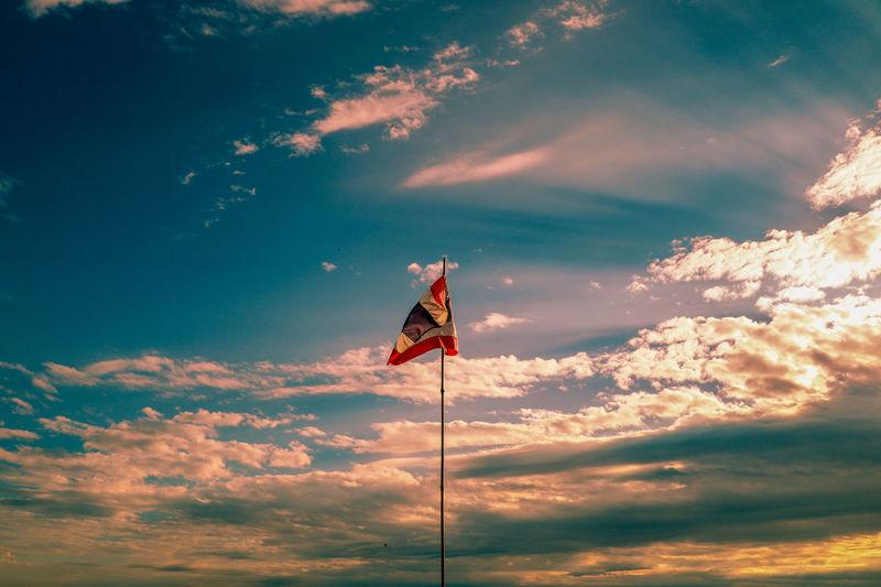 Good Morning ☕🇹🇭🙏❤ Sunrise Cloud - Sky Cloud Thailand Thai Thailand_allshots EyeEm Best Shots EyeEm Nature Lover EyeEm Selects EyeEm Gallery Eye4photography  EyeEm Eyeem Market Patriotism Flag Cultures Sky Cloud - Sky National Icon Thai Flag Symbolism Flag Pole National Flag Sky Only