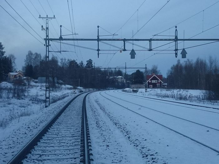 Railway Old Railway Station Train Tracks Railroad Tracks Cold Temperature Winter Snow Electric Train Power Lines Ecofriendly Norrland Sweden Infrastructure Tracks In The Snow CarbonNeutral Transportation