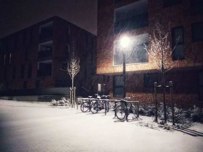 Snow Cold Temperature Winter Illuminated Bicycle Window Table Snowflake Snowing Snowdrift Residential Structure Street Light Building