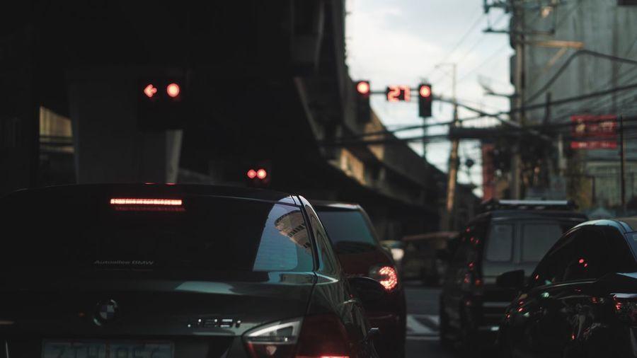 Traffic on street in city
