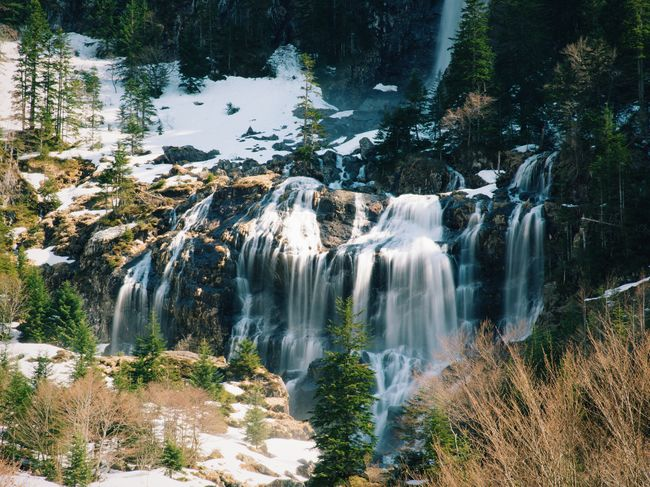 Cascade Waterfall Midi-Pyrenees Pyrenees cascade d'ars Landscape Winter Mountain