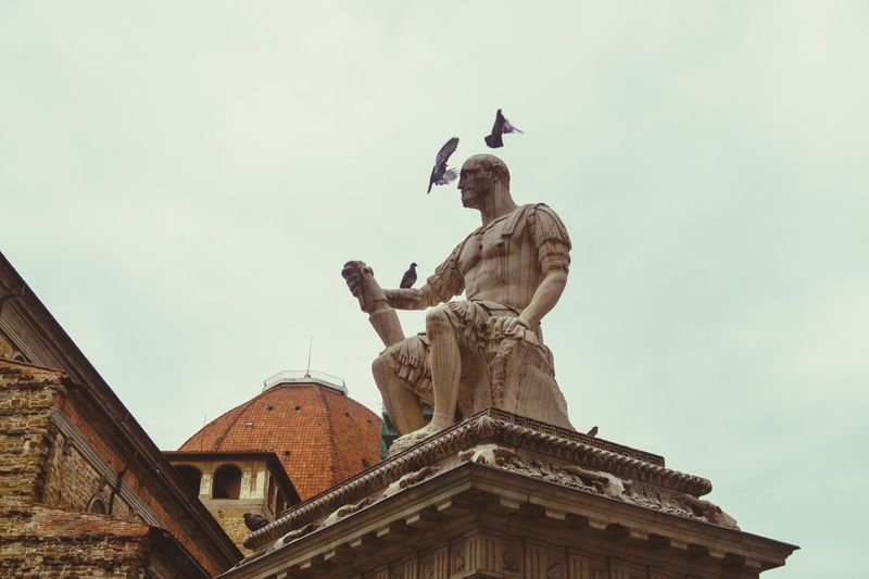 EyeEm Selects Cloud - Sky Architecture Travel Destinations History Statue Built Structure Sky Day No People Outdoors Politics And Government Florence Firenze Florence Italy Italy Pigeons Man Statue Sitting Statue