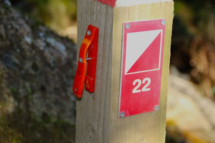 Cumbria England UK Lake District Close-up Communication Day Focus On Foreground Nature No People Orienteering Orienteering Marker Outdoors Red Text Winlatter