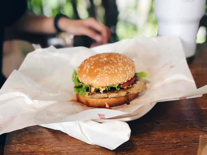 Burger on table
