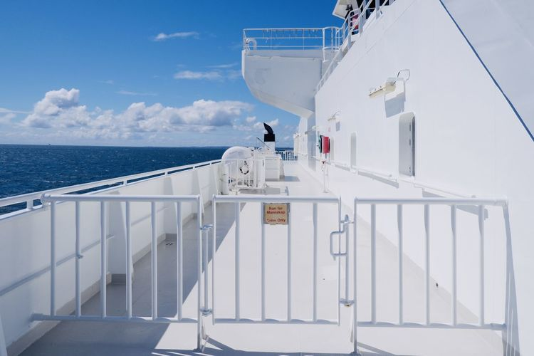 Scenic view of sea against sky on ferry