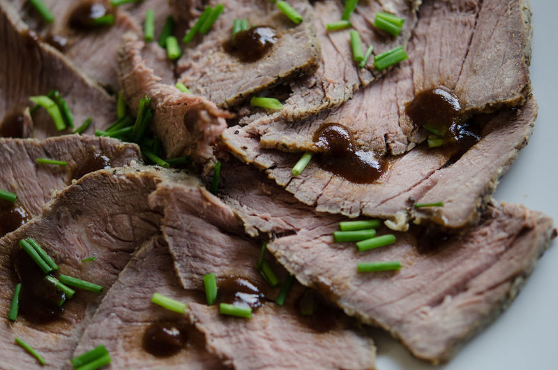 Detail shot of roasted beef slices