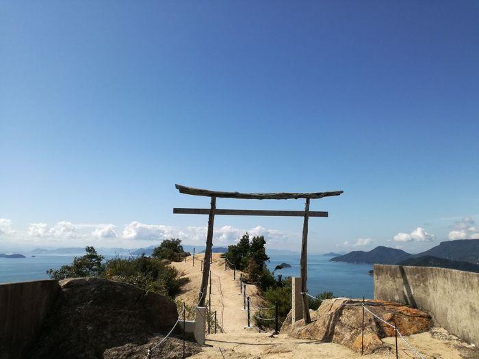 Sky Day No People Outdoors Nature Travel Destinations Mountain Beauty In Nature Tree Torii Gate Island Kagawa,Japan Kagawa Syoudoshima Architecture