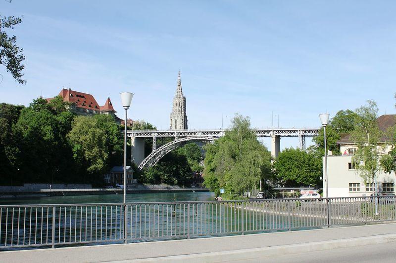 Tree Bridge Over The River Bern, Switzerland Churchtower Switzerland HJB Travel Destinations River Water City Outdoors