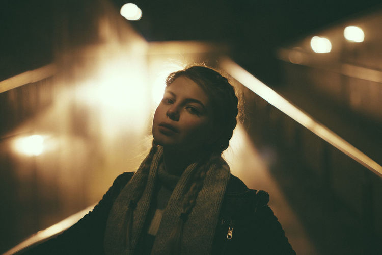 Night Portrait Night Lights Illuminated Serious Face Lifestyles Blond Girl Casual Clothing Leisure Activity Focus On Foreground Young Adult One Person Real People Young Women Beautiful Woman Standing Outdoors Warm Clothing People