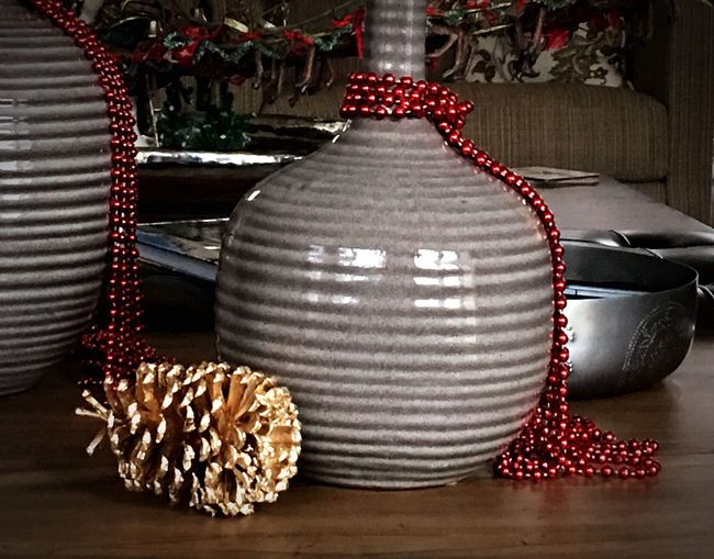 Christmas Still Life Beads Red And Gold Pine Cones Ceramic Vase