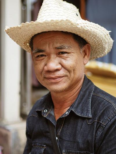 Portrait Bangkok Thailand Portrait Men Smiling Looking At Camera Headshot Cowboy Hat Cheerful Confidence  City Hat Cowboy Straw Hat Sun Hat