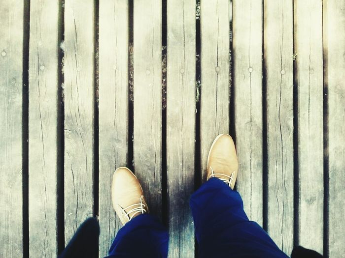 Shoes on wooden surface
