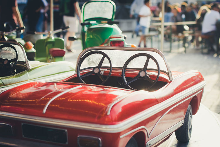 Fun Kids Retro Car Carousel City Day Germany Merry-go-round Outdoors Red Retro Styled Street Streetphotography Sunlight Transportation Vintage Car