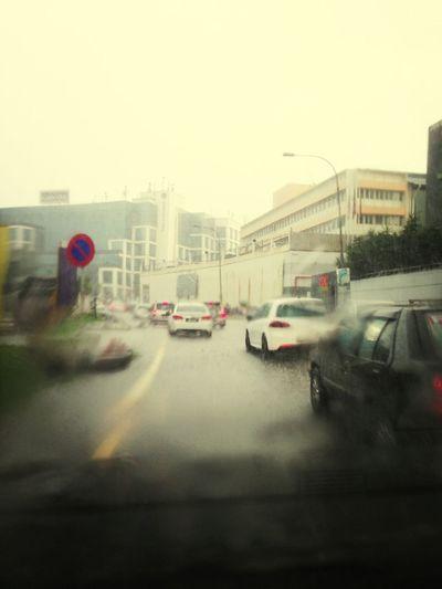 Rush Hour Traffic With Rain
