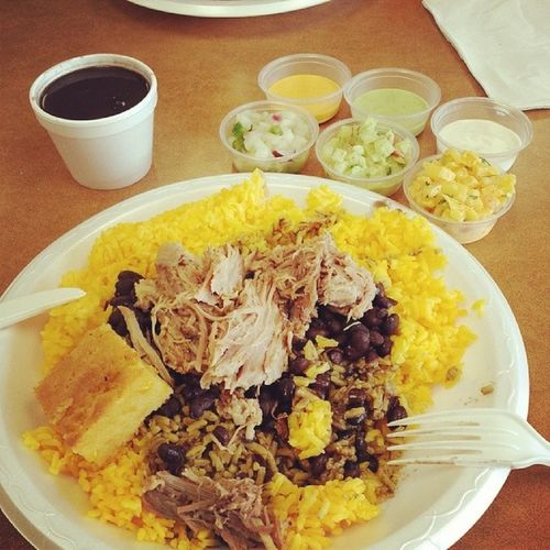 What you know about that sauce game?! LaBrasa SoFlo WPB Hispanic Food Rice Beans Pork