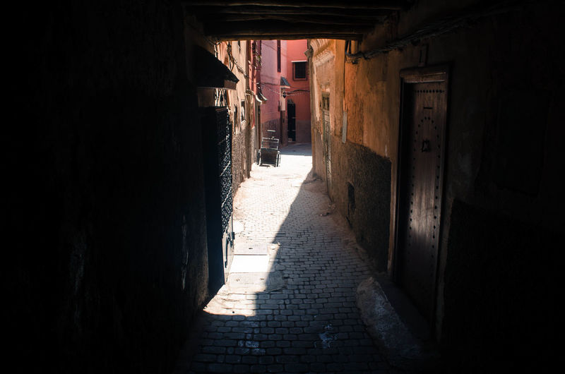 Narrow alley along buildings