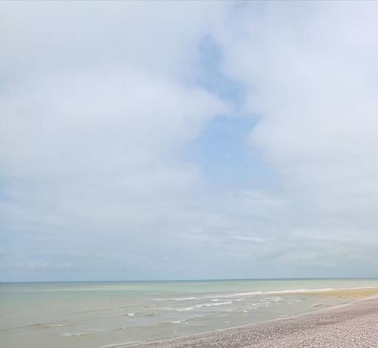 Water Sea Beach Sand Wave Blue Summer Pastel Colored Sky Horizon Over Water