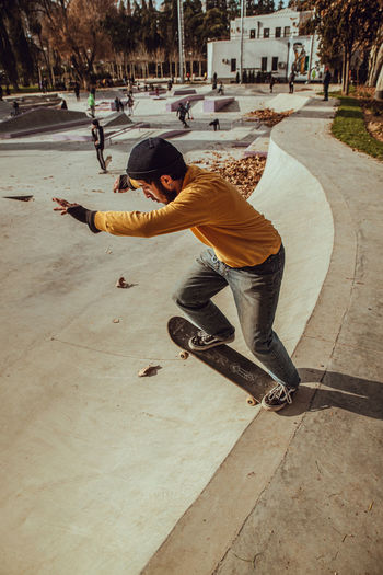 Man skateboarding on skateboard