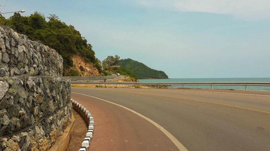 Sea Beach Beauty In Nature Nature Mountain Scenics Idyllic Outdoors Sky Cliff Rock - Object Day Tranquil Scene No People Tranquility Road Horizon Over Water Water Tree Scenic Lookout Thailand