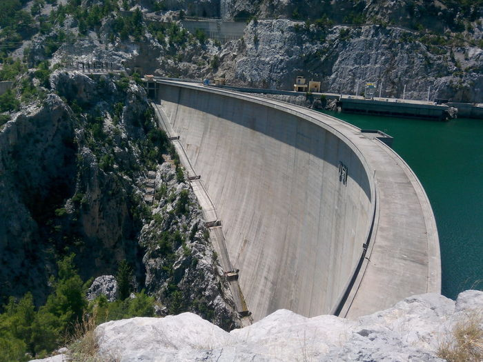 High Angle View Of A Dam