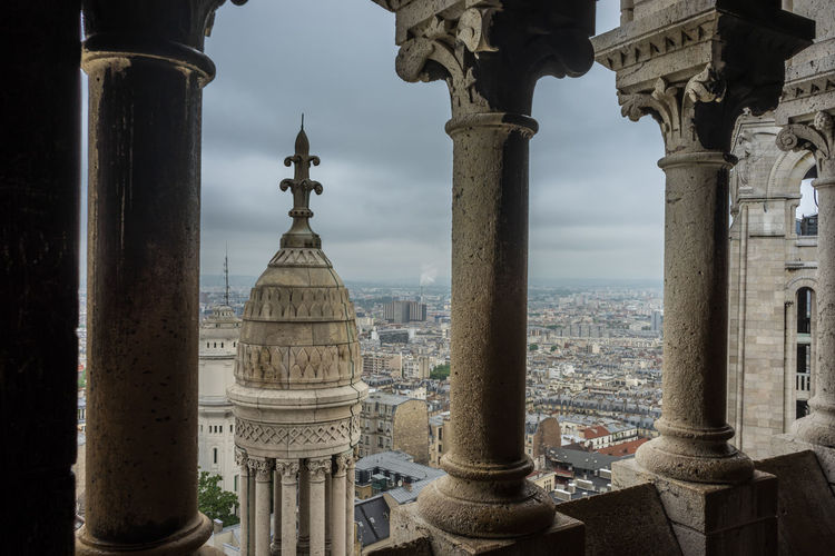 The view over paris from the rooftops of the sacre-coeur basilica