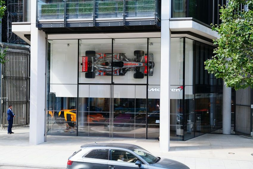 EyeEm Selects Architecture Built Structure Building Exterior Day Outdoors City People Only Men Facades Showcase F1 Car McLaren London Urban Luxury Sports